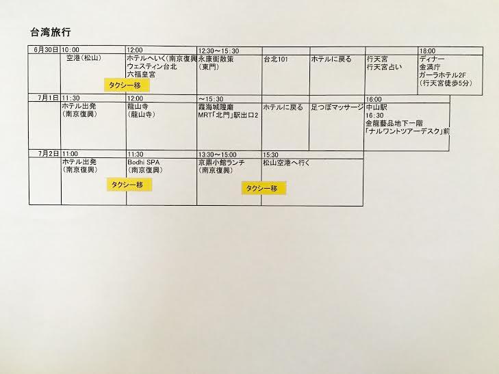 還暦台湾旅行スケジュール3